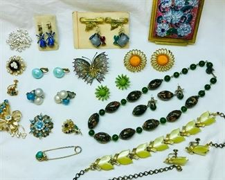 Costume jewelry from the 1940s, 50s & 60s. Pieces shown, plus many, many more!