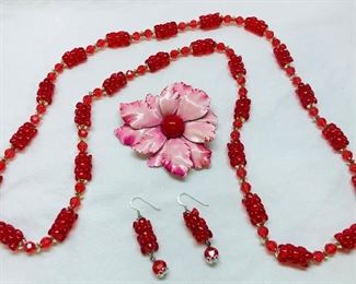 1960s beaded necklace and earring set pictured with floral pin