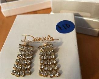 1970s rhinestone and gold earrings