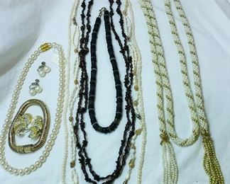 Faux  pearl pieces, Hawaiian shell and seed necklaces, magnetic jewelry clasps