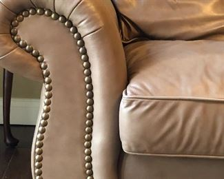 Taupe Leather Sofa w/Rivets 90 x 39 x 32
