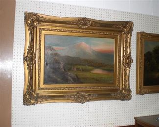 R.A.Clark oil on canvas of Mt.Ranier and teepees in the fore ground