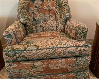 CLUB CHAIR UPHOLSTERED WITH A DEER PATTERN