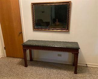 ENTRANCE OR SOFA TABLE/ GREEN STONE TOP