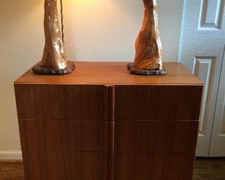 Pair of Vintage Cypress Root Lamps, Bachelor Danish Teak Chest