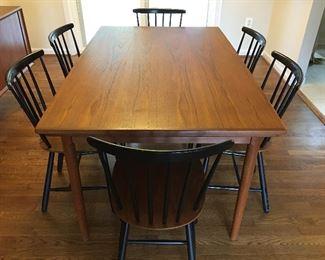 Danish Teak Expandable Table, Set of 6 Slat Back Danish Chairs
