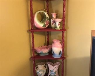 Gorgeous Hull Pottery on Red Painted corner shelf