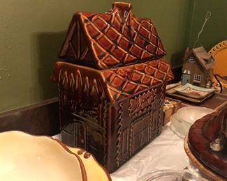 who needs a gingerbread house when you have a beautiful Hull Pottery house cookie jar