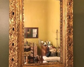 24K Gold leaf Antique mirror (professionally restored)