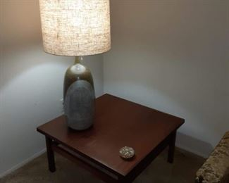Mid-century table lamp and corner table