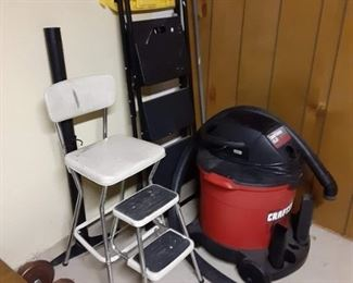 Vintage high chair step stool and shop vac
