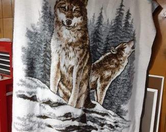 Biederlack Wolf Fleece Blanket Wolf by James Hautman