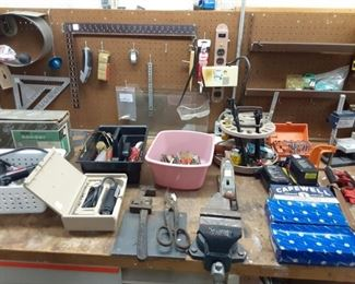 Jewelry making supplies multiple shop vices anvil