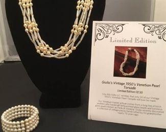 Vintage 1950s Venetian Pearl Necklace Plus Bracelet
