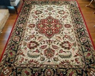 "#19Smyrna Trading Company 5'9x8'9"" Ivory Burgundy Blue  100 Wool Rug $175.00"