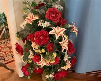 "#22Red/White Floral Arrangement w/ceramic Pot   55"" Tall $45.00"