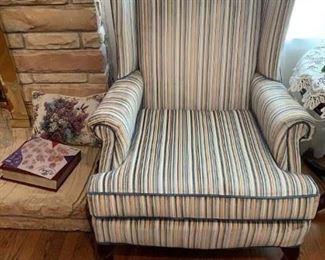 #23(2) Hickory Hill Blue Velvet Striped Wing-back Chair   $75 each