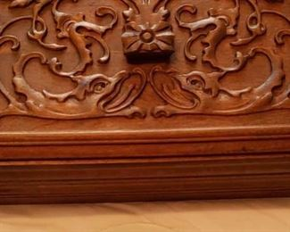1664 Main Building Bathroom Upstairs Carved wooden box profile