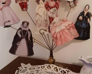 1787 Main Building Bedroom Upstairs Paper Dolls on Stand profile