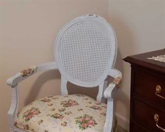 1892 Main Building Bedroom Upstairs Cane back Chair profile