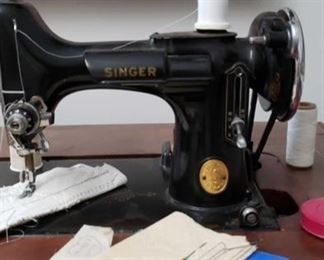 2263 Main Building Sitting Rm Closet Sewing Machine in Cabinet Close Up