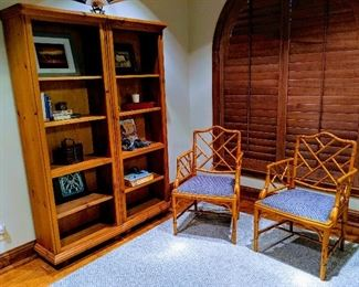 Bamboo chairs Bookshelves