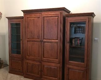 Ethan Allen  entertainment center middle section 80 tall by 51 wide by 27 deep both side pieces 74 tile 26 wide