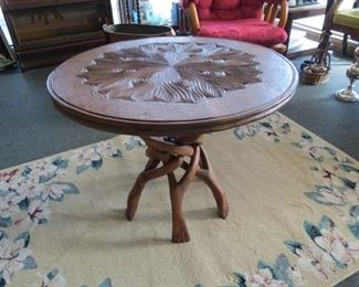 Hand carved coffee table.