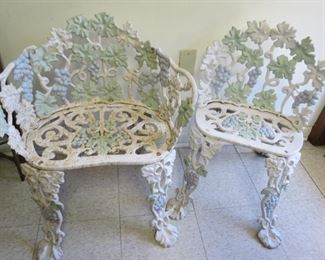 Cast iron garden chairs.