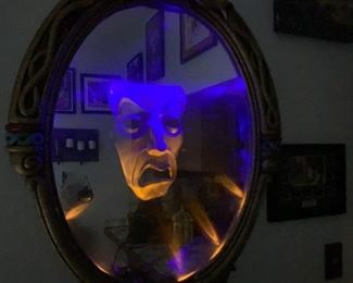 Rare Disney Man in the Mirror motion sensor litslight damage from earthquake, works great has been converted from battery to electrical powered dated 1999