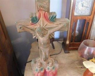 Vintage Chalkware Lighted Jesus