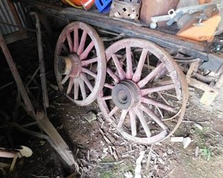 Red Paint Wagon Wheels