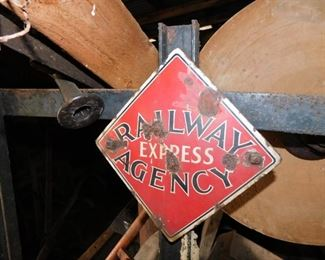 Original Railway Express Agency Railway Baggage Wagon with Small Porcelain Sign