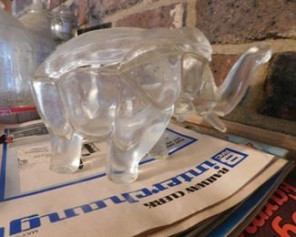 Glass Elephant Container