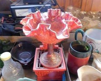 Fenton Carnival Glass Compote