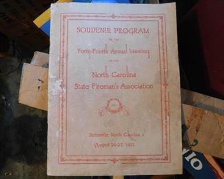 1931 N.C. Firemans Association Program