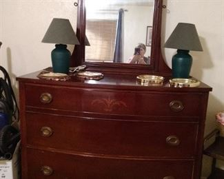 LOVELY VINTAGE BEDROOM SUITE WITH FULL SIZED BED MADE BY JOHN A COLBY OF CHICAGO