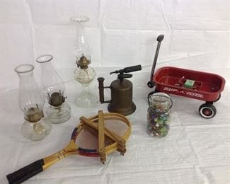 Oil lamps and blow torch