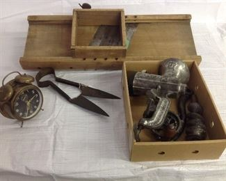Cabbage slicer,grinder,brass clock, old shears