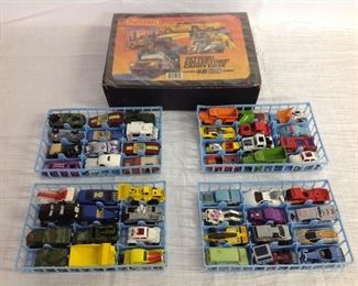 Matchbox cars and trucks in case