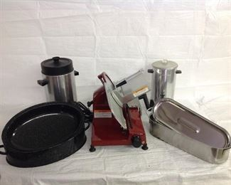 Commercial meat slicer and cooking items