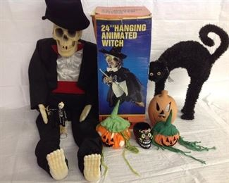 Talking Skeleton, scary witch, and decorations