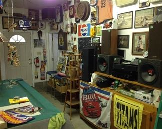 Pool table and more beer signs