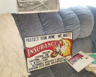 Authentic vintage embossed metal insurance advertising. Get your protection from tornado's!