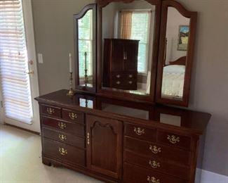 Thomasville Queen Cherry Bedroom Suite  $2000 Bed, nightstand, hutch and dresser with mirror