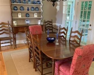 Antique Solid Cherry Dining Set Table with 3 leaves and 6 chairs      Red Parsons Chairs