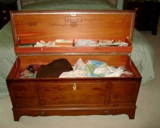 Vintage cedar chest and contents.