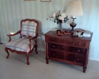 Antique late 1800's chest of drawers, Antique upholstered arm chair & etc.