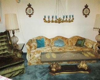 Funky & Fabulous Original Owner Spanish Provincial Sofa, Pr. Chairs, 3 Piece Gilt Coffee and Side table set