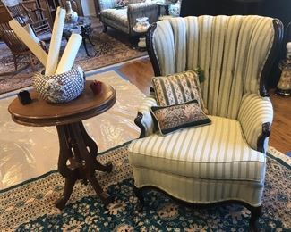 WING CHAIR & PEDESTAL TABLE